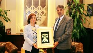 Başkan Köse, KBÜ Rektörü Polat'ı Ziyaret Etti