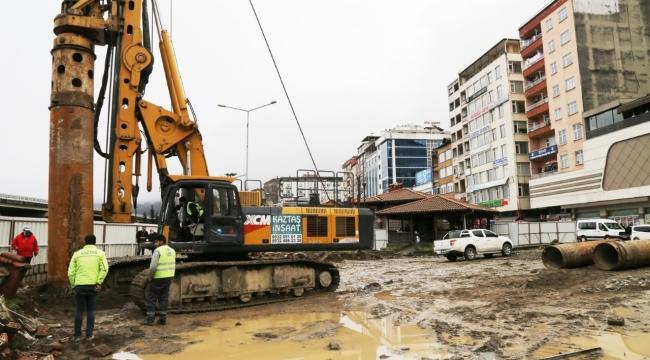 Rize'nin kentsel dönüşümü için ilk fore kazıklar çakılmaya başladı