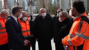 CumhurbaşkanıErdoğan, yapımı devam eden Levent Camisi'ni inceledi