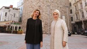 Emine Erdoğan, Ukrayna Devlet Başkanı Vladimir Zelenskiy'nin eşi Olena Zelenska ile Galata Kulesi'ni ziyaret etti