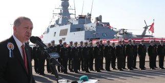 Cumhurbaşkanı Erdoğan, TCG Burgazada'nın Deniz Kuvvetlerine teslimi ve kaynak törenine katıldı